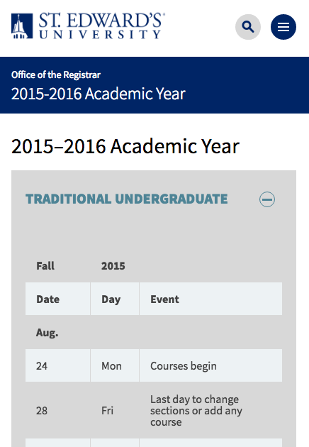 An image of the 2015-2016 academic calendar on a mobile device.
