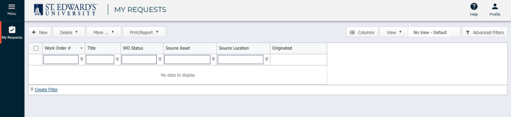 My Requests screen with fields for Work Order #, Title, WO Status, Source Asset and Source Location
