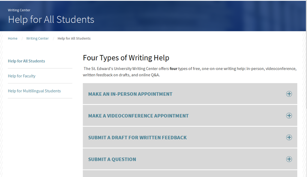 Screenshot of Writing Center website