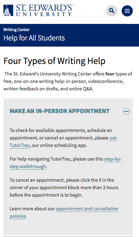 Mobile view of the writing center website.