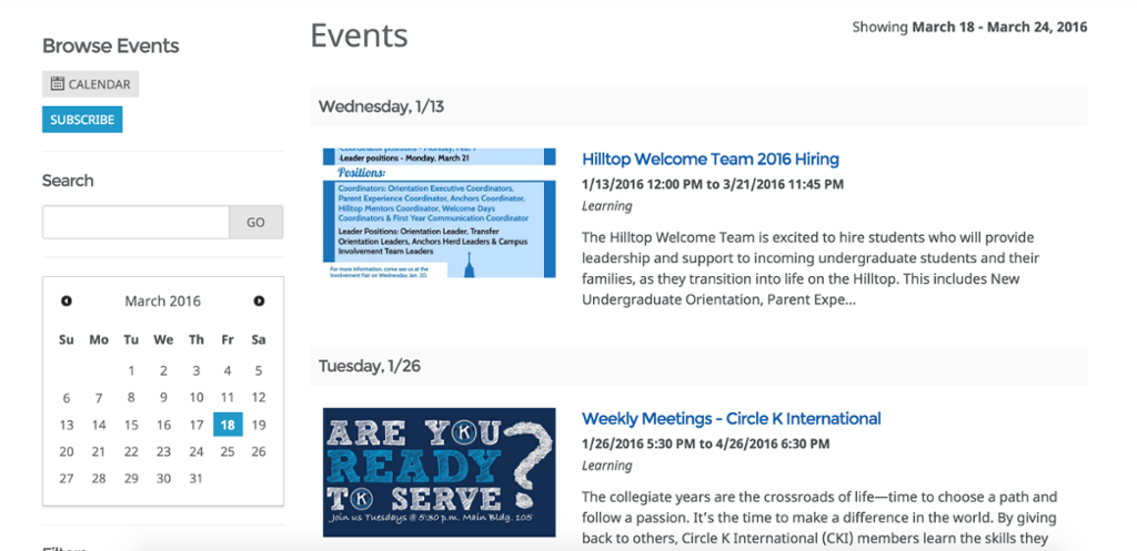 Events listing in Collegiate Link.