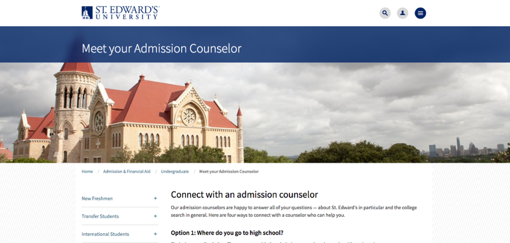 The Office of Admission's list of academic counselors.