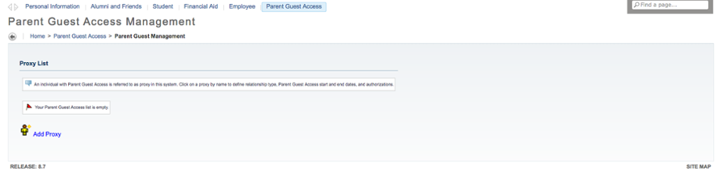This page allows you to add parent/guest access to information in Banner.