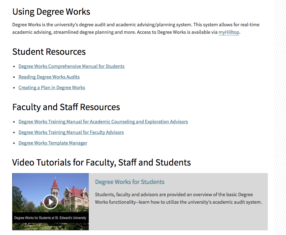 Tutorials and instructions for using Degree Works.