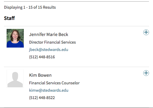 Directory entries for Student Financial Services staff.