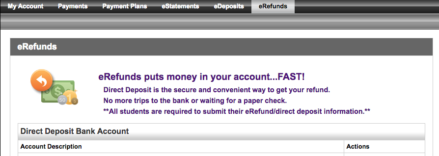 e-refund screen.