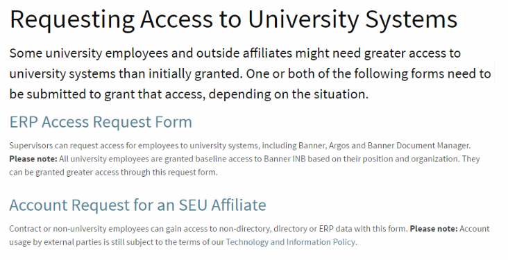 Image of the access request screen at support.stedwards.edu.