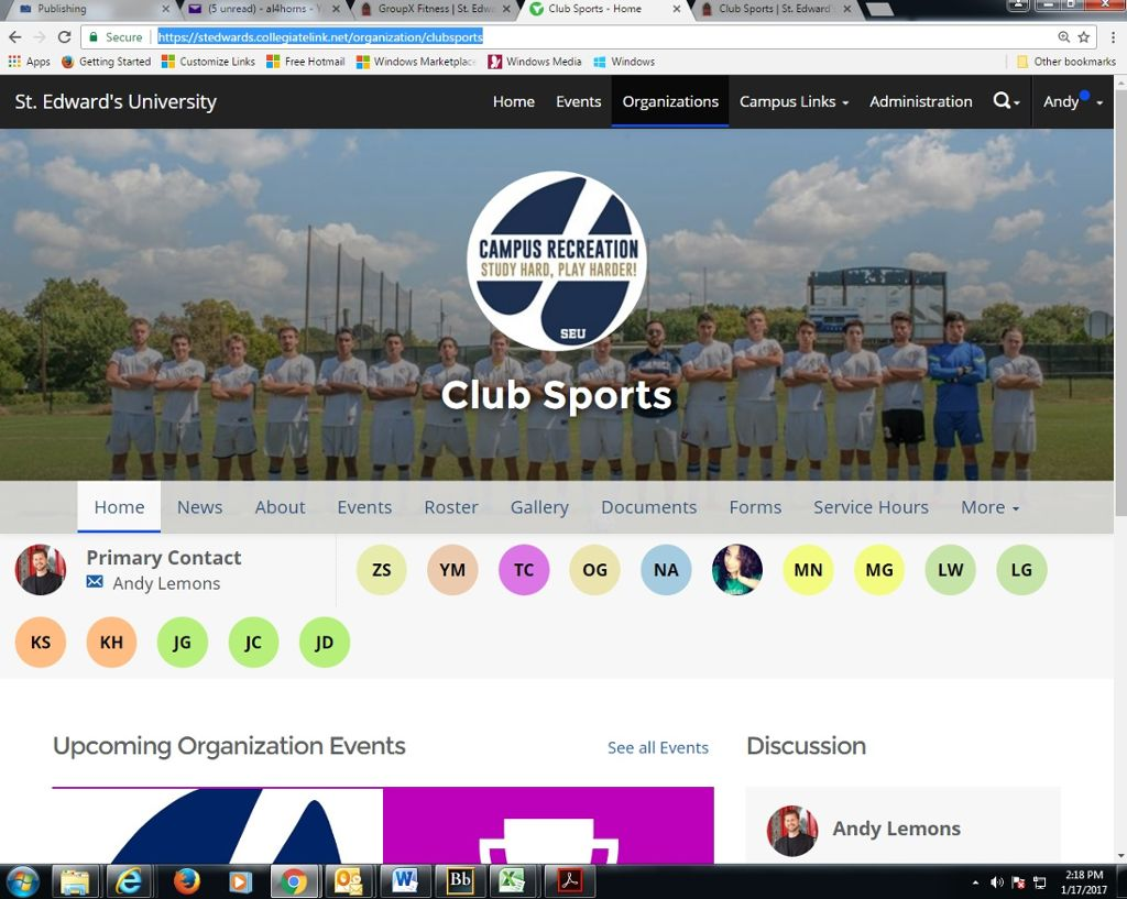 Image of club sports listings on Collegiate Link