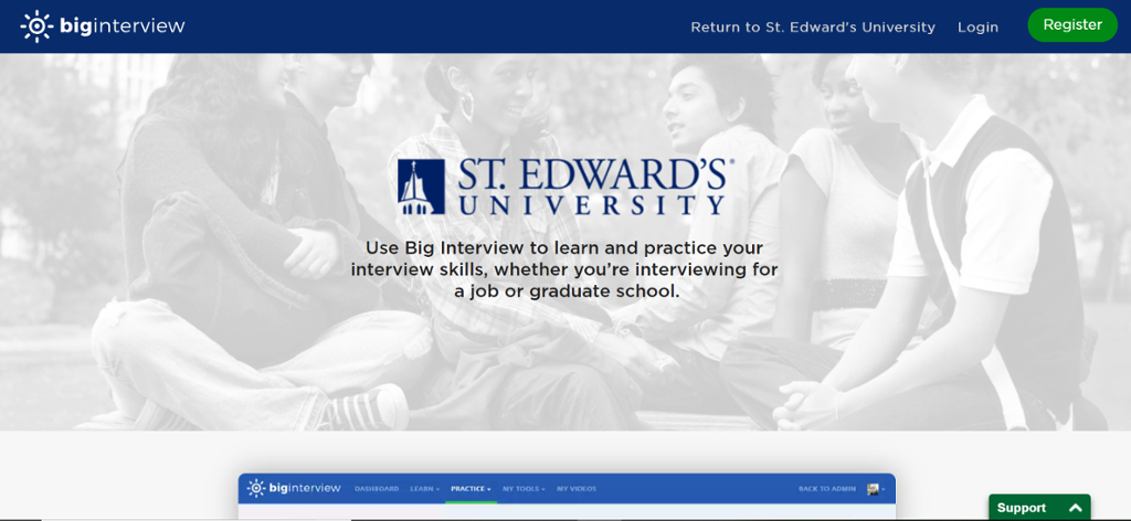 Home page for St. Edward's Big Interview site