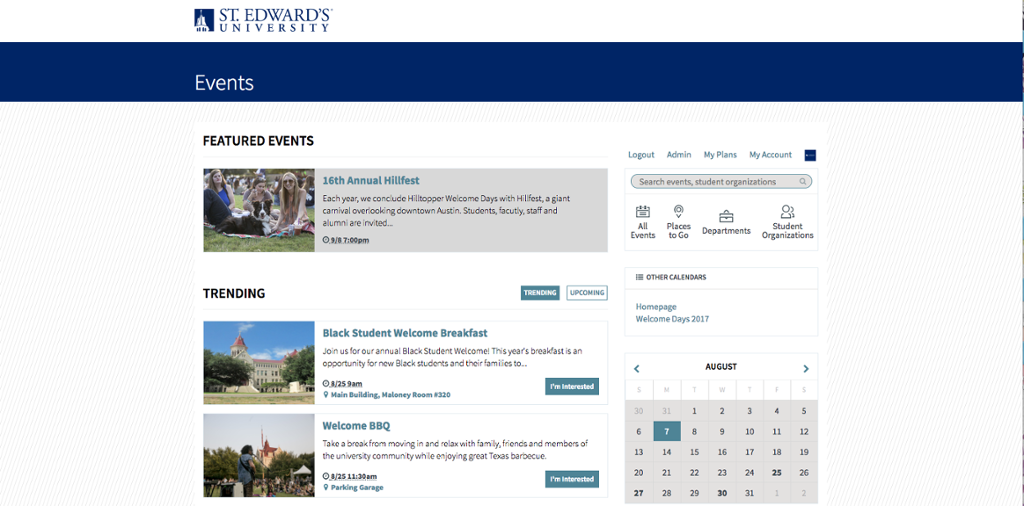 Events listing at www.cal.stedwards.edu.