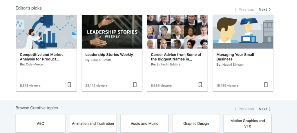Editor's Picks collection of video content on LinkedIn Learning