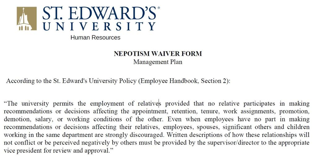 Nepotism waiver form